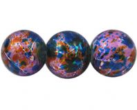 200 Drawbench Glass Beads, Spray Painted, Round, Purple/Blue/Golden 4mm